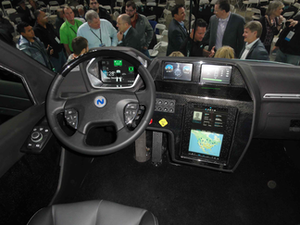 The dash includes a 21-inch display with software to help drivers optimize their routes and fuel stops at Nikola's nationwide hydrogen fuel network.