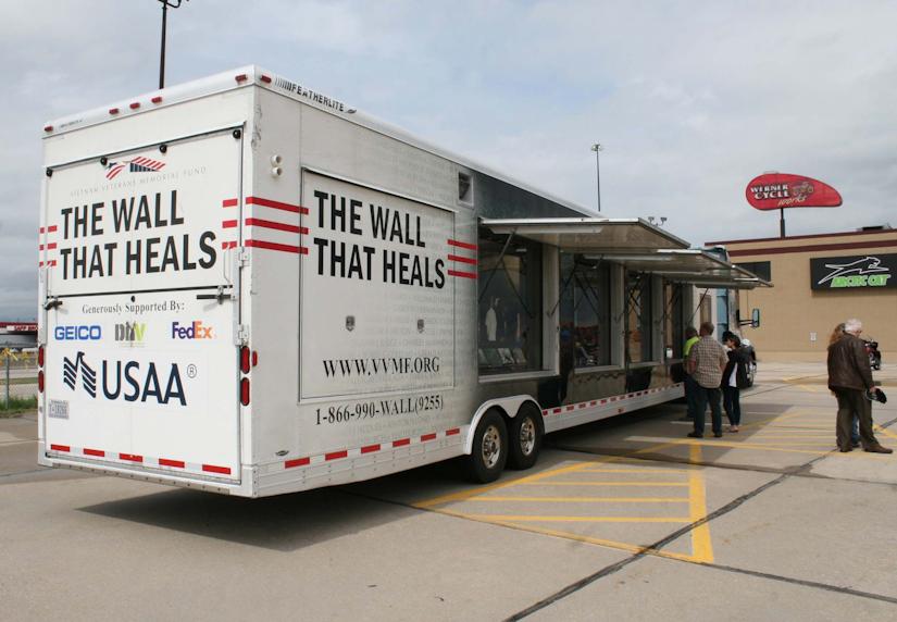 USA Truck hauling 'The Wall That Heals' Vietnam memorial