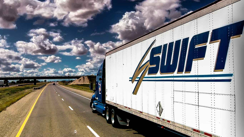 Swift Truck Driver Driving on the Interstate