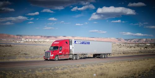 Averitt Express truck driving down the road