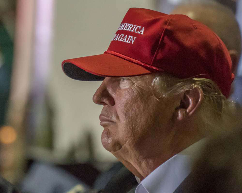 President Donald Trump in a Make America Great Again hat