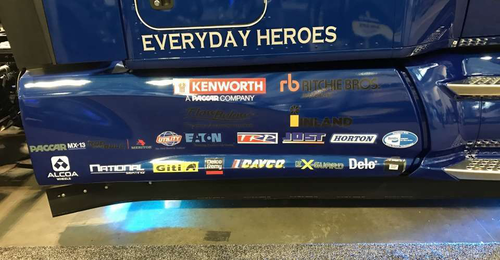 Sponsor stickers for companies that sponsored the Kenworth 'Everyday Heroes' truck