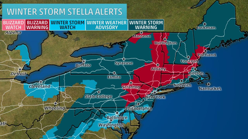 Winter Storm Stella Alerts map