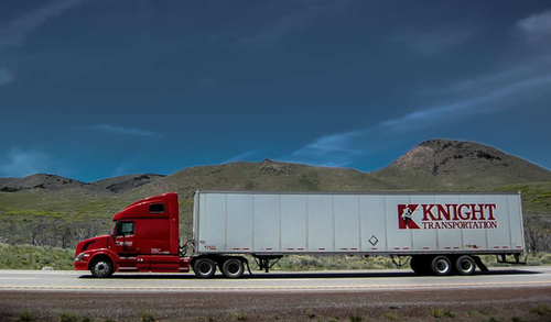 Knight Transportation truck driving on the road