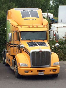 Truck with solar panel