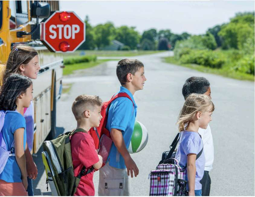 Children Getting off a School Bus