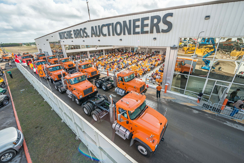 Trucks being displayed at Ritchie Bros. Auctioneers