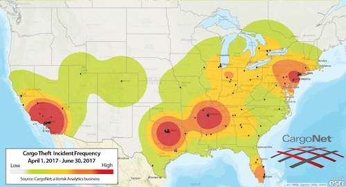 Cargo Theft Incident Frequency Heat Map
