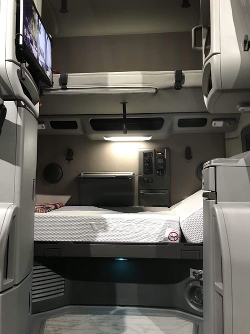 Volvo semi truck sleeping area with inclining bunk