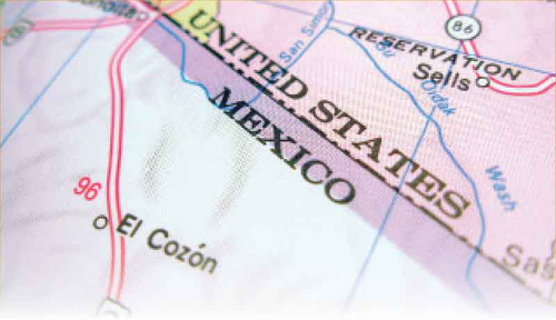 Border of United States and Mexico on a map