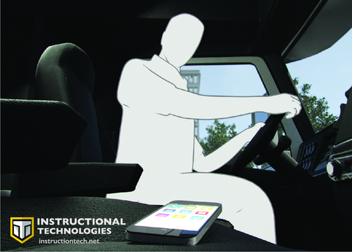Instructional Technologies Inc. ad with truck driver in cab of vehicle