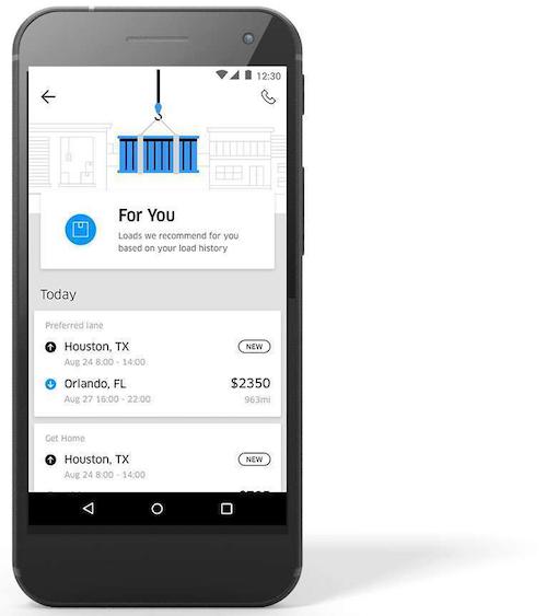 Uber Freight smartphone screenshot