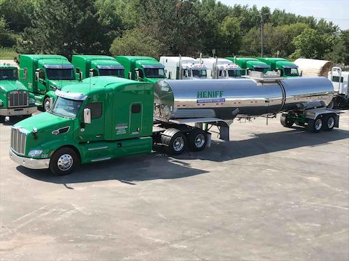 Heniff Transportation trucks parked