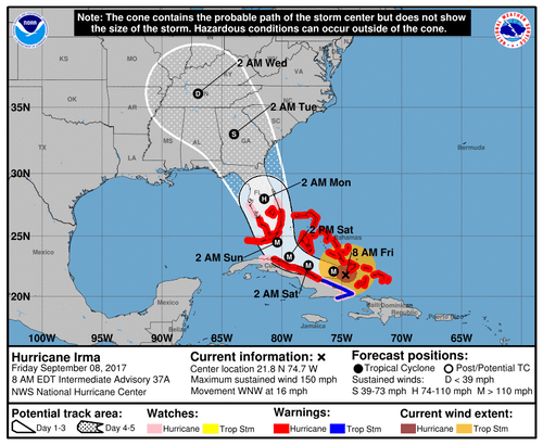 Hurricane Irma tracking map