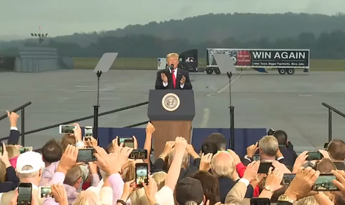 Trump Delivering Message at Airport