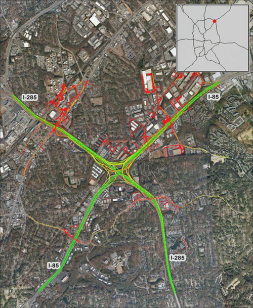 "Freight bottleneck, ""Spaghetti Junction"" in Atlanta – the intersection of I-285 and I-85 North"