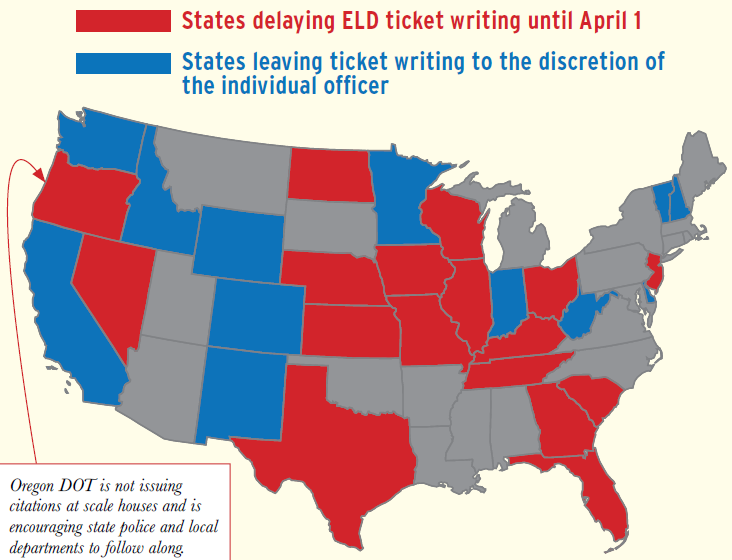 Map of how states are handling ELD ticket writing enforcement