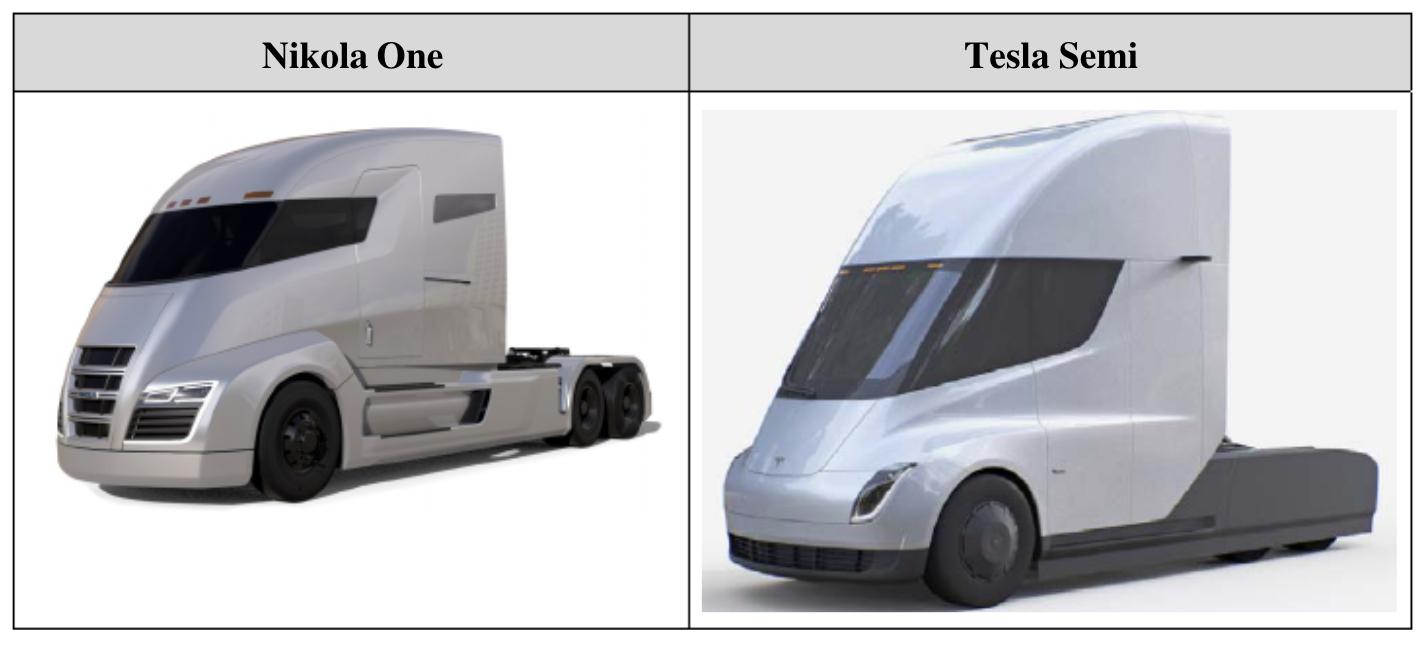 Nikola One Truck and Tesla Semi-Truck