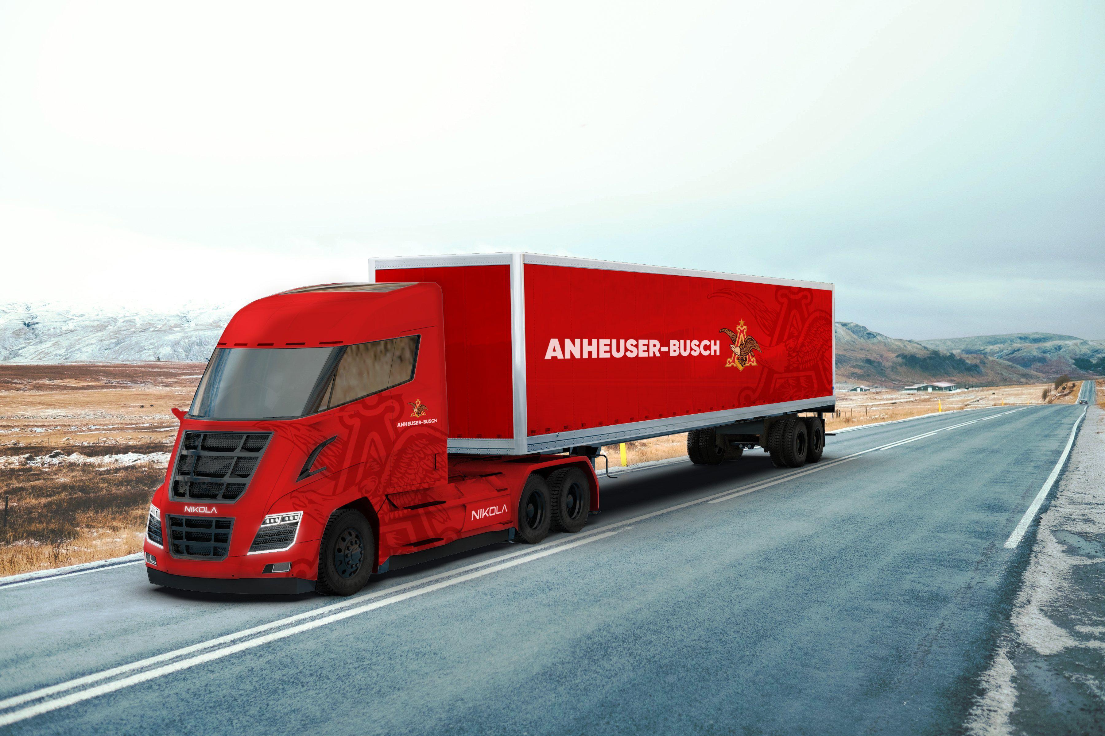 Nikola Semi-Truck Pulling Anheuser-Busch Trailer