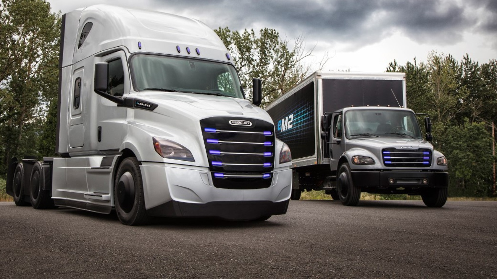 freightliner eCascadia with the freightliner eM2 all-electric trucks