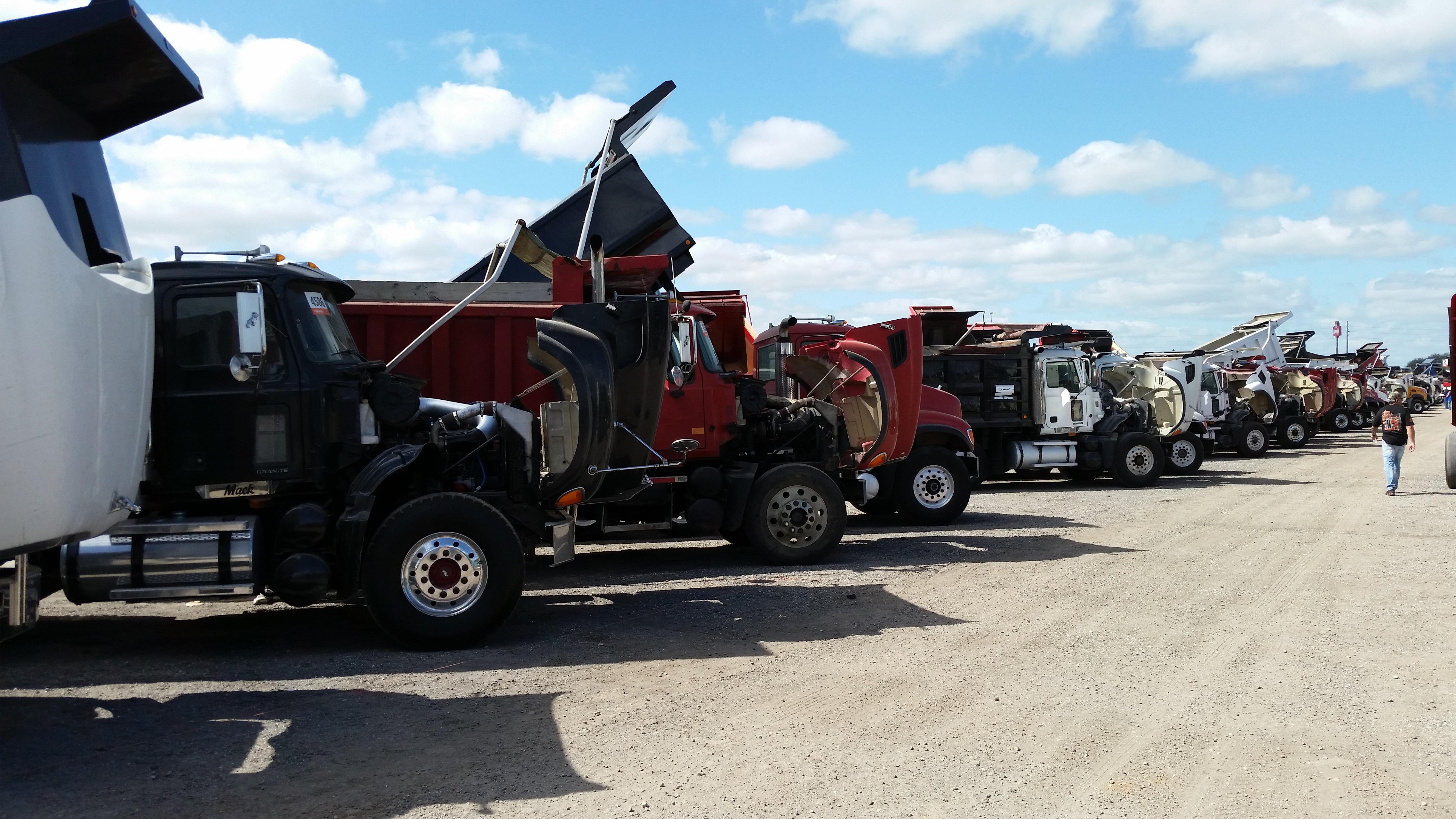 Row of Dump Trucks