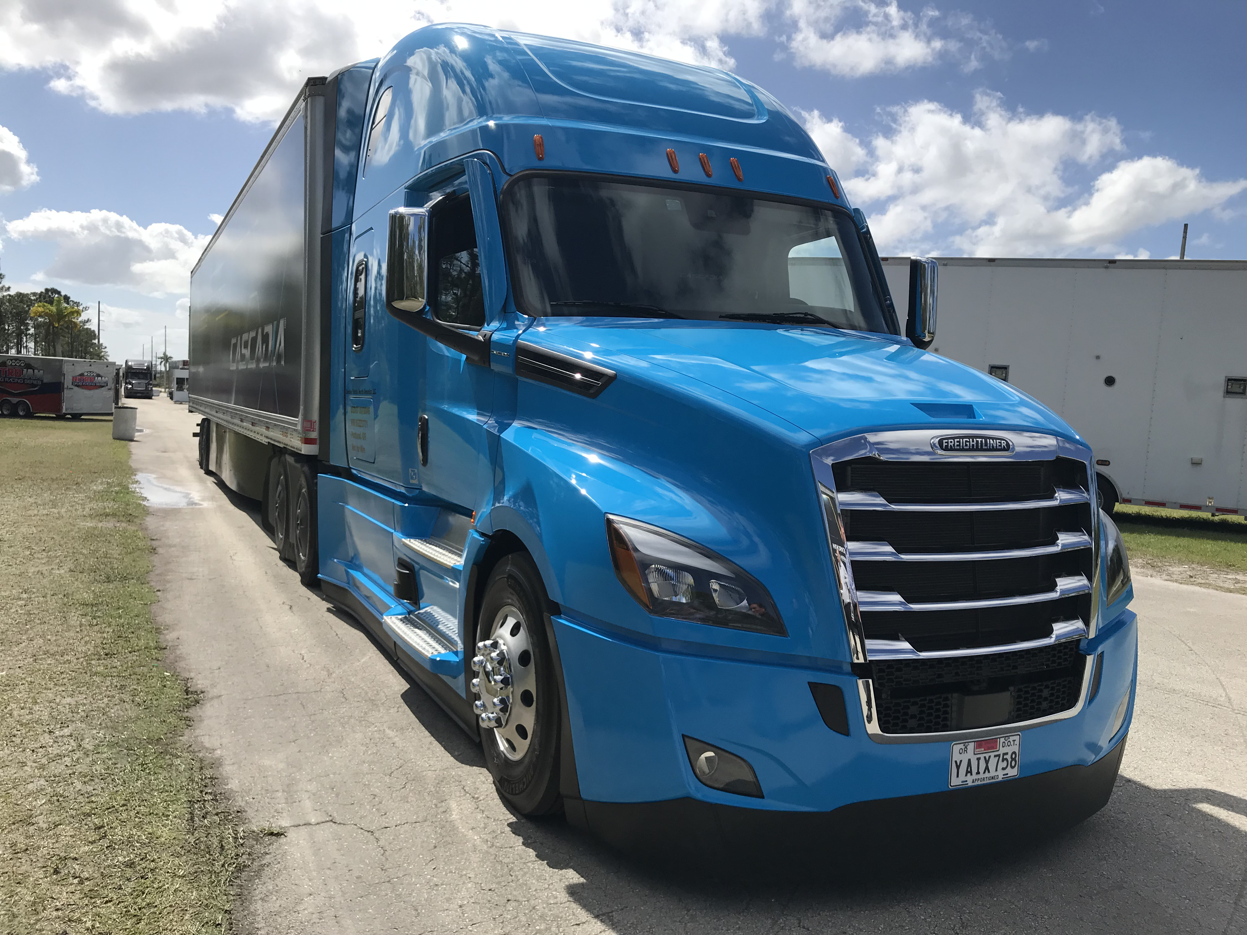 Freightliner Cascadia parked during test drive