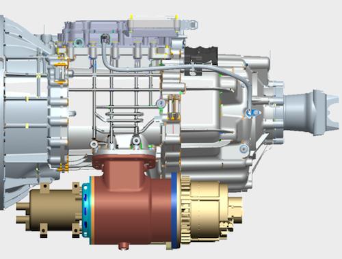 Rendering of Eaton's 48-volt mild hybrid system