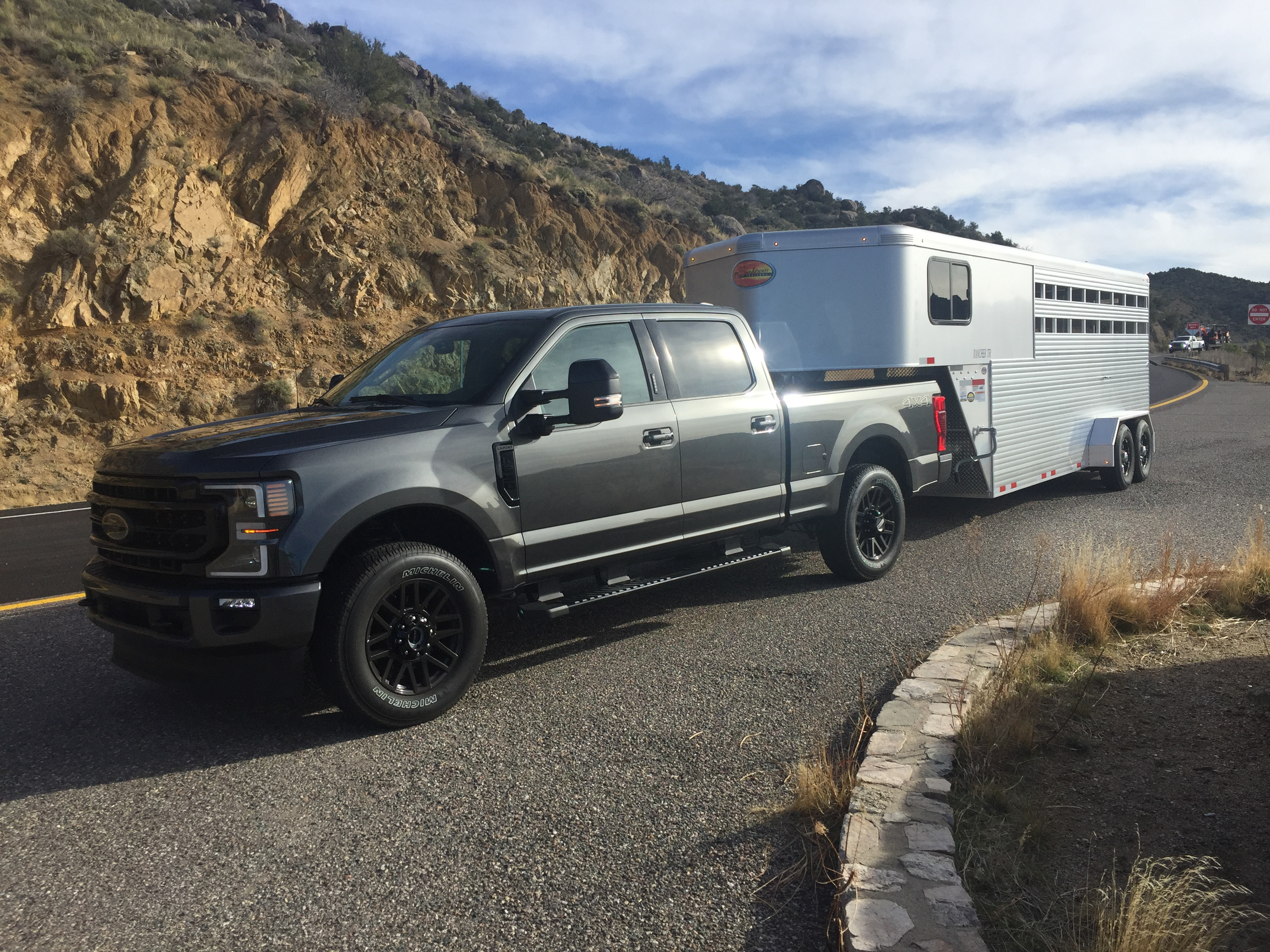 2020 Ford F-250 Lariat hauling a livestock trailer