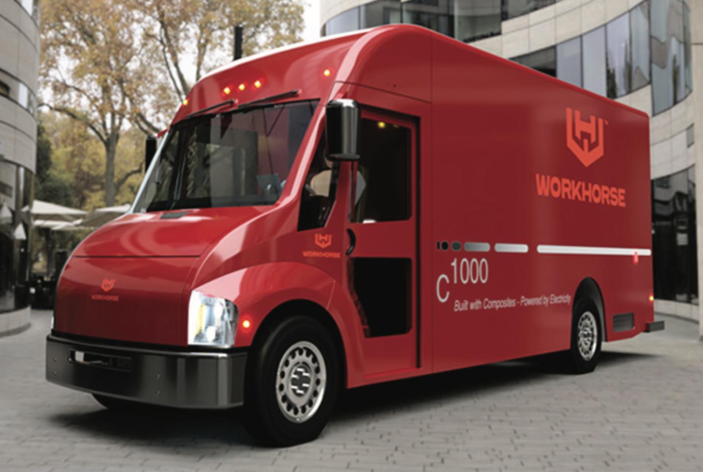 Workhorse red electric van