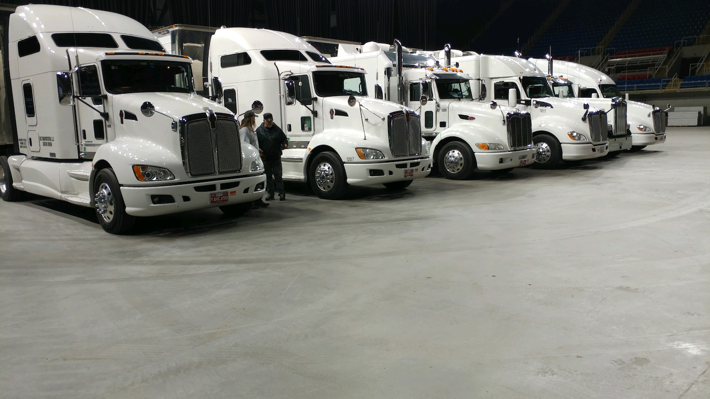 SOS Transport at the Fargodome in North Dakota.  Olson has transported some of the biggest names in the music industry and hopes to do so again soon.