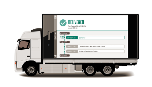 Delivered tracking notification on the back of a pick up and delivery truck