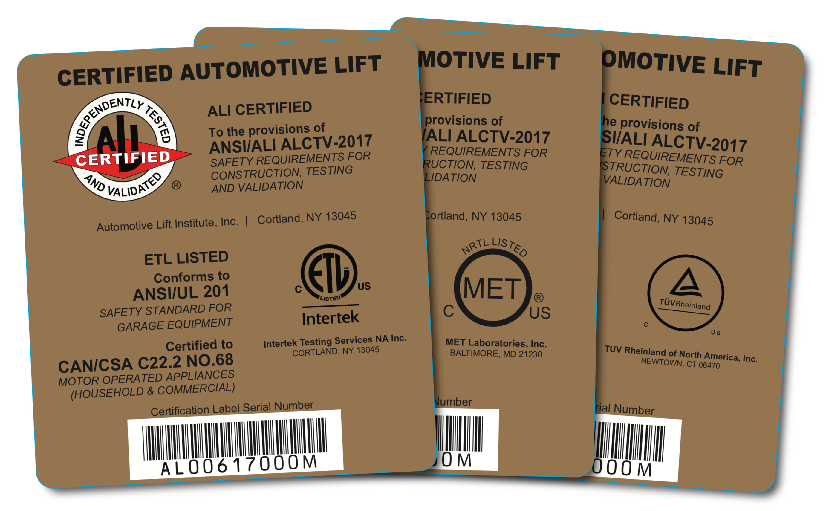 certified automotive lift gold label certifications