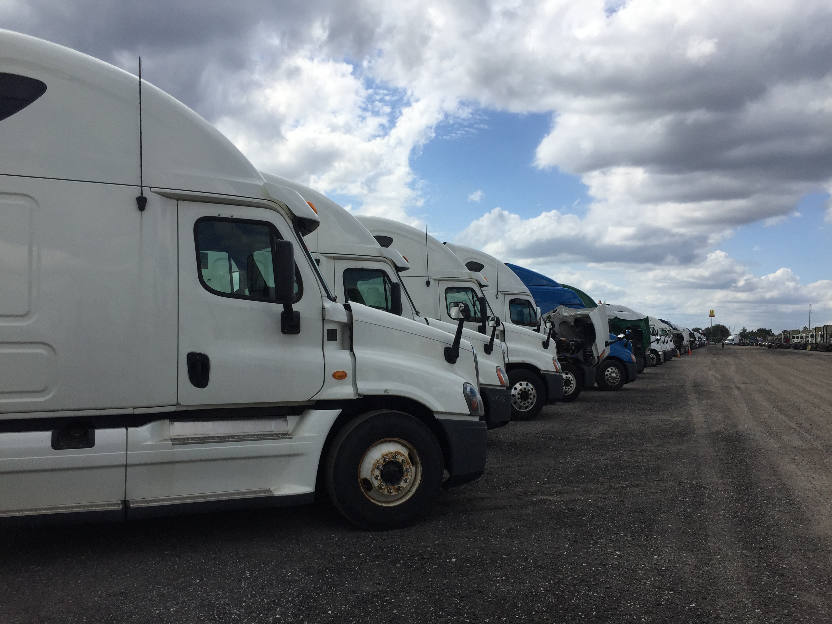 Semi-trucks parked in a row