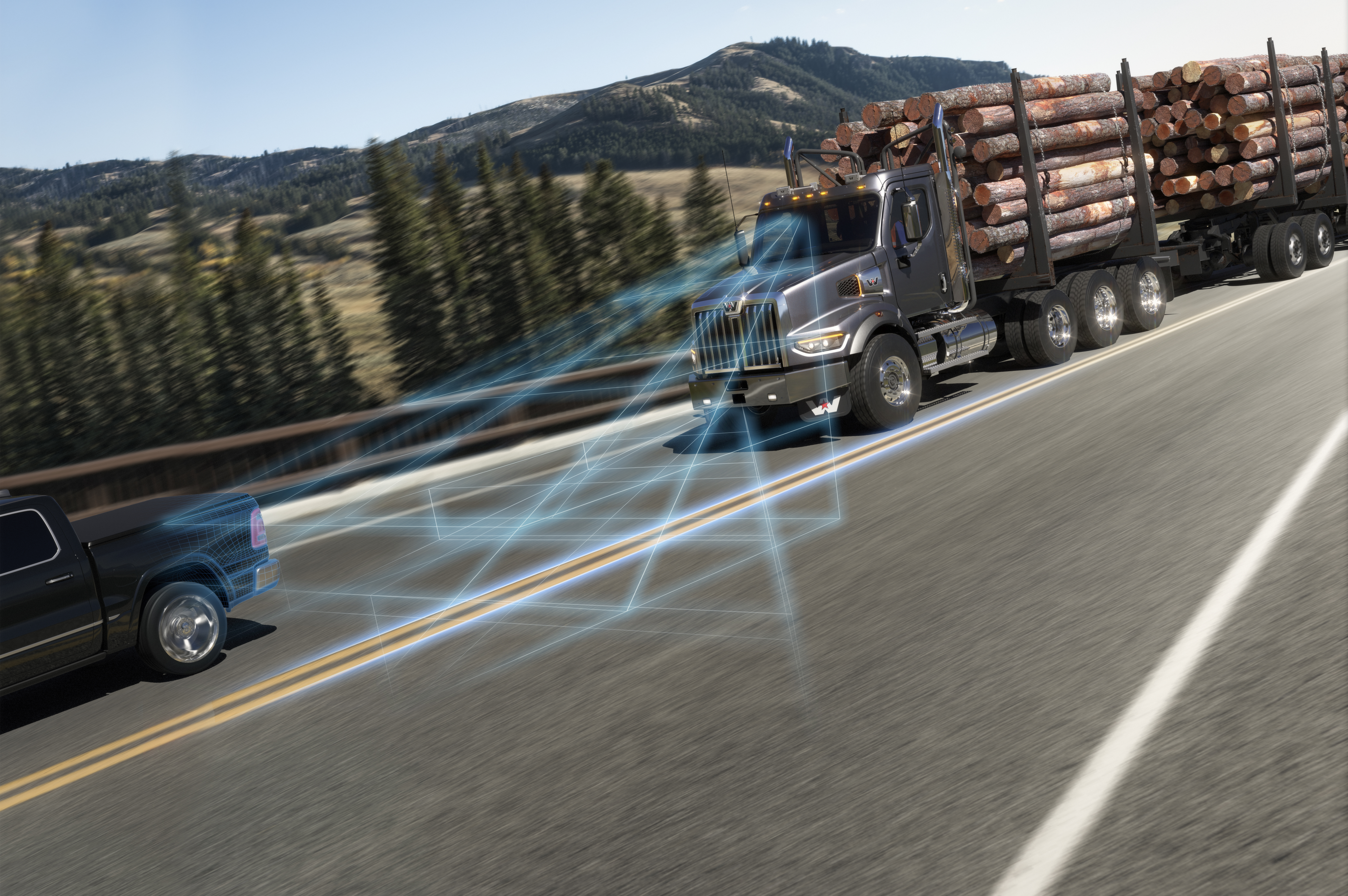 Rendering of the range of the ABA5 detection distance between the Western Star 49X and a vehicle while on a road
