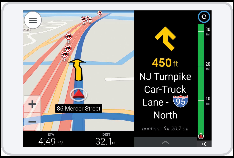 Trimble MAPS V10 3D showing the NJ Turnpike Car-Truck Lane I95 North