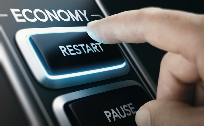economy dashboard with 'restart' and 'pause' buttons