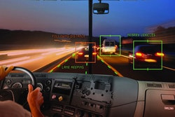 Depiction of advanced camera systems alerting driver to lane keeping and nearby vehicles