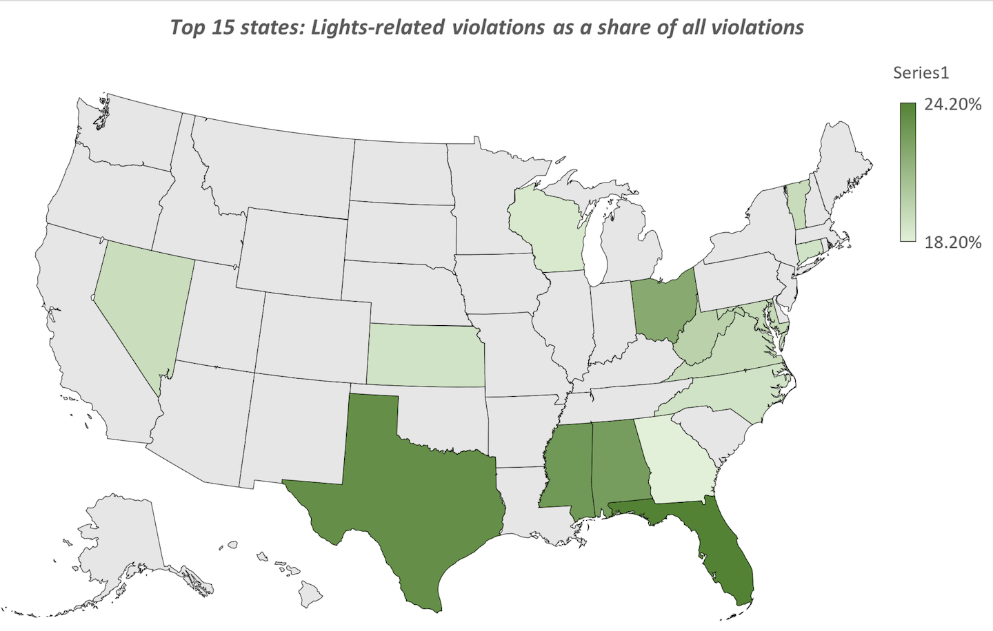 The shaded states above represent those states that occupy the top 15 spots for the greatest share of all violations written there having to do with lights -- among the focus areas (along with the hours of service, of this year's annual Roadcheck three-day inspection blitz, May 4-6). See below for a numbered list of these 15 toughest states when it comes to prioritizing light violations. Chart and list are based on 2019 calendar year inspection data as reported to the federal MCMIS database.