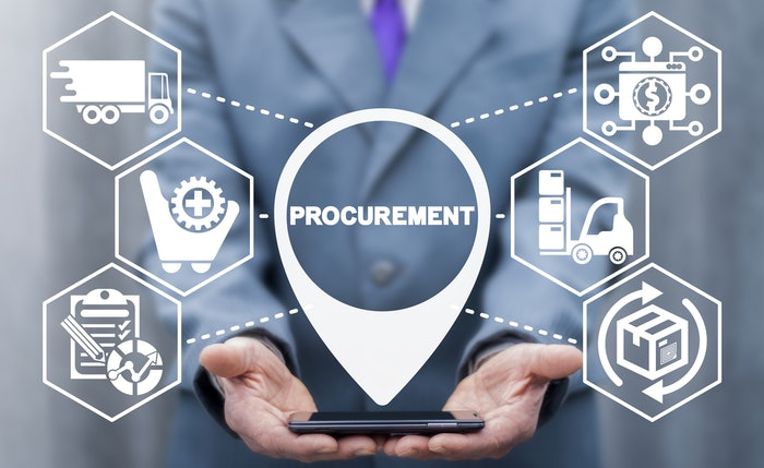 man holding phone in hands with the word procurement above it