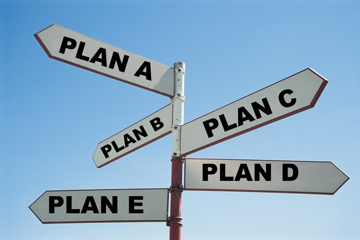Plan A through E signs pointing in different directions