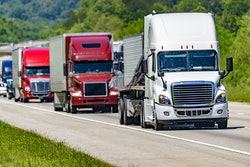 Semi-trucks on a highway