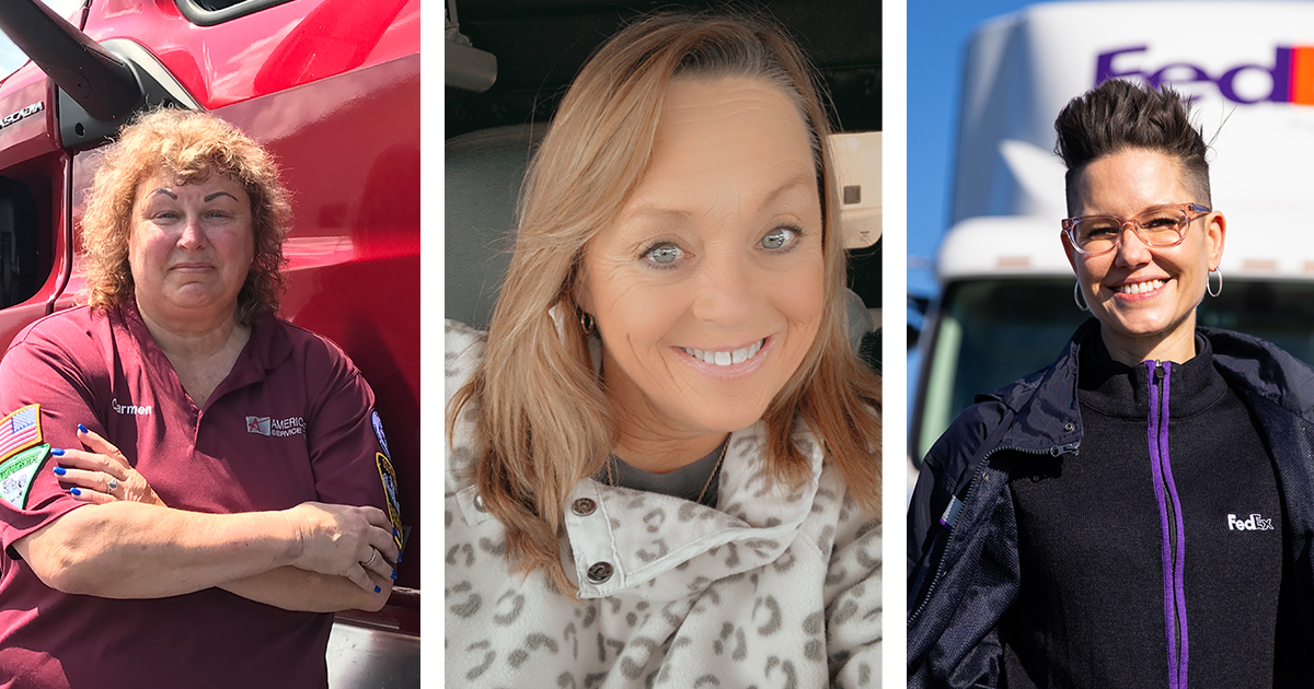 The 2021 Women in Trucking Driver of the Year finalists are, from left, Carmen Anderson, Ingrid Brown, and Nikki Weaver.