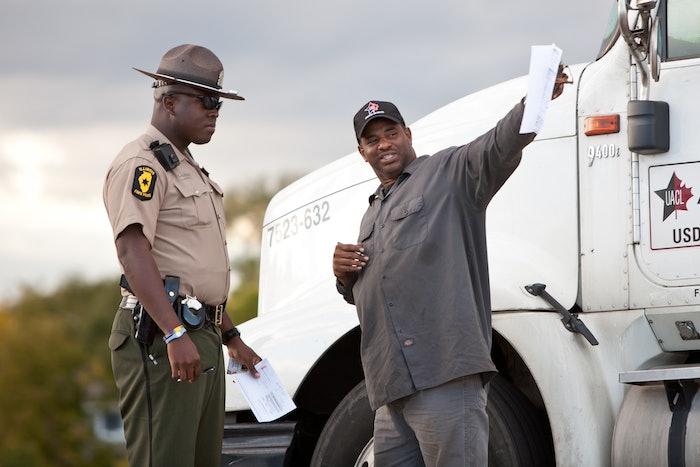 Trucker stopped for truck inspection