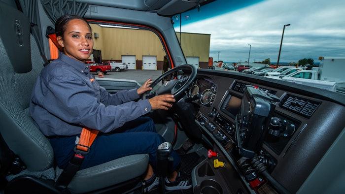 East Penn driver behind the wheel of a heavy duty truck.