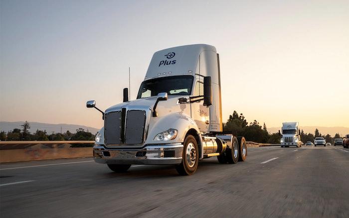 autonomous truck on roadway