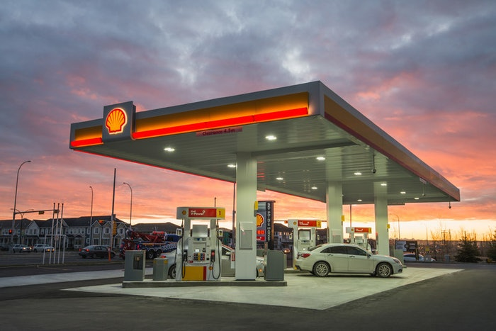 shell station gas pump area