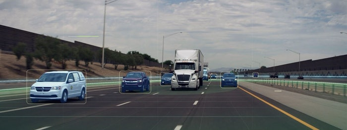 truck animation with self driving truck on roadway