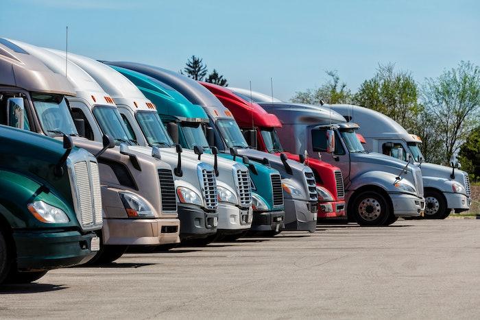 Line of parked semi trucks