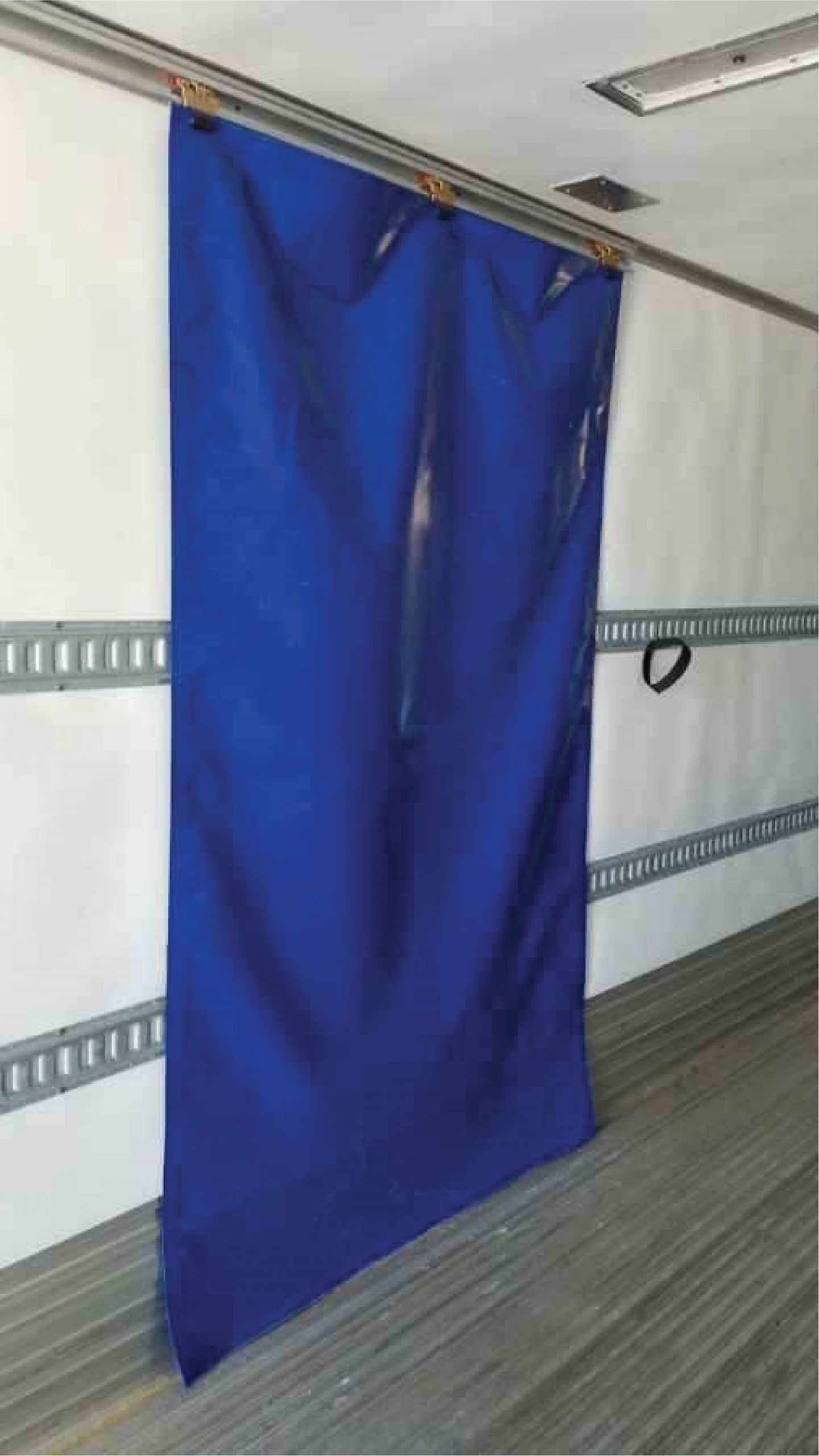 The Kold-Front Refrigerated Curtain System kit includes an 84-inch Kin-Slider aluminum roller track; three five-wheel rollers; standard-sized 26 oz. PVC commercial-grade curtain – 60 inches wide by 102 inches long, ballast-weighted; and four hook and loop fasteners.
