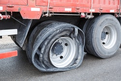 truck with a flat tire